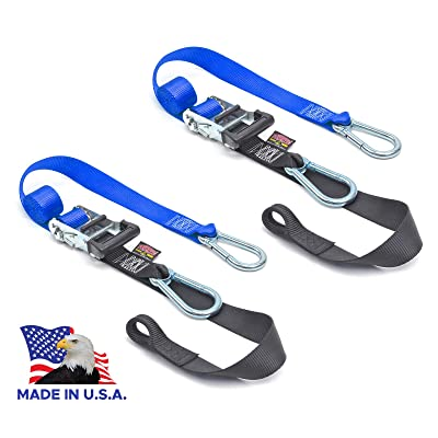 "PowerTye 1½"" x 6½ft Heavy-Duty Ratchet Tie-Downs, Made in USA with Soft-Tye and Carabiner Hooks, Blue/Black (pair): Automotive"