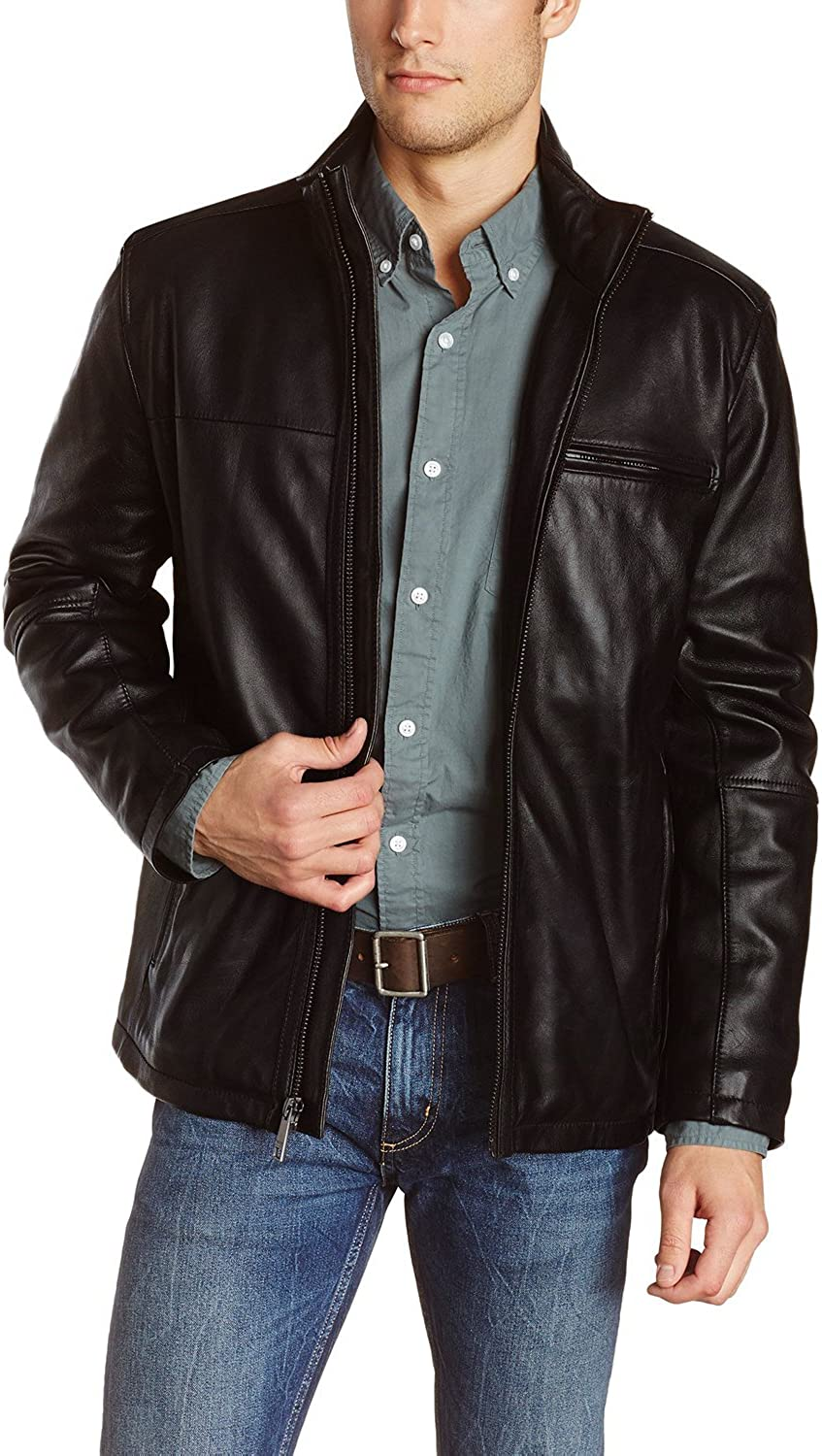 1502848 Black, Trench Coat Laverapelle Mens Genuine Lambskin Leather Coat
