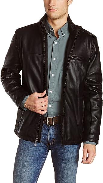 1510018 Lasumisura Mens Black Genuine Lambskin Leather Jacket