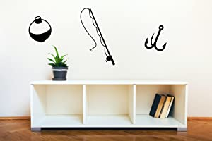 Wall Decor Plus More WDPM3505 Fishing Pole, Hook and Bobber Fishing Wall Decal Art Vinyl Sticker (Set of 3), Black