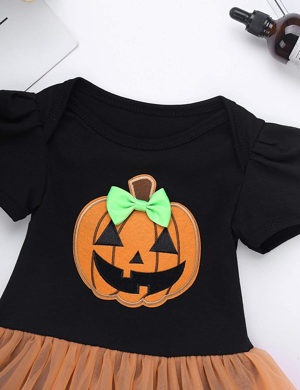 TiaoBug 4//2Pcs Infant Baby Girls Halloween Pumpkin Romper with Headband Leg Warmer Shoes Costume Outfits
