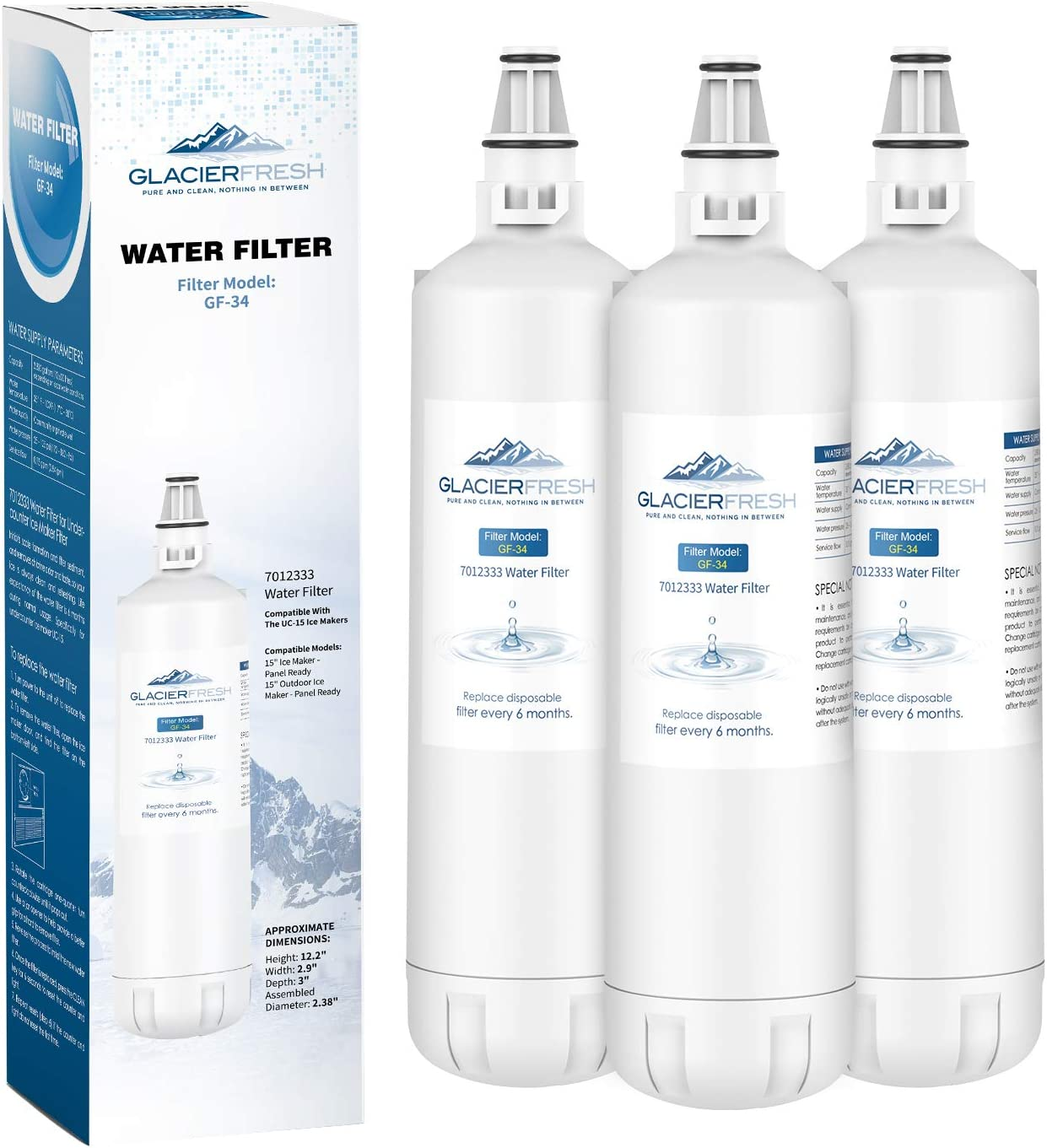 GLACIER FRESH 7012333 Ice Maker Water Filter, Compatible With Sub-Zero 7012333 Water Filter, UC-15 Ice Maker Water Filter Replacement, Manitowoc K00374 (3 Pack)