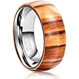 TGNEL 8mm Tungsten Rings for Men Wood Inlay Wedding Band Comfort fit Engagement Promise Ring Domed