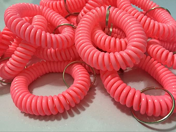 Happyi 8pcs Soft Coil Stretch Wristband Keychain for Gym, Pool, Id Badege (Pink)