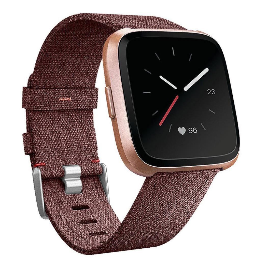 sukeq Woven Fabric手首ストラップfor Fitbit Versa、クイックリリース腕時計バンド交換用アクセサリーwithステンレススチールBuckle for Fitbit Versa Smart Watch B07D7DNZM8 ブラウン
