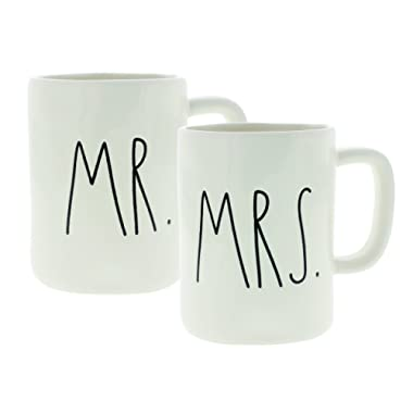 Rae Dunn Artisan Collection Mr. & Mrs. Set of (2) Mugs By Magenta, White
