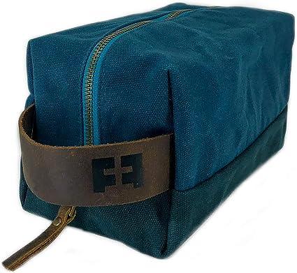 The DOPP KIT | Neceser y bolsa de maquillaje de lona de algodón encerado para hombre y mujer con mango de cuero azul AlpineLake: Amazon.es: Belleza