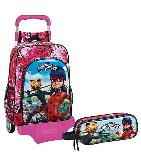 5c2a81605e Ladybug Marinette Cat Noir Zaino Trolley Scolastico + Astuccio con 2  Scomparti
