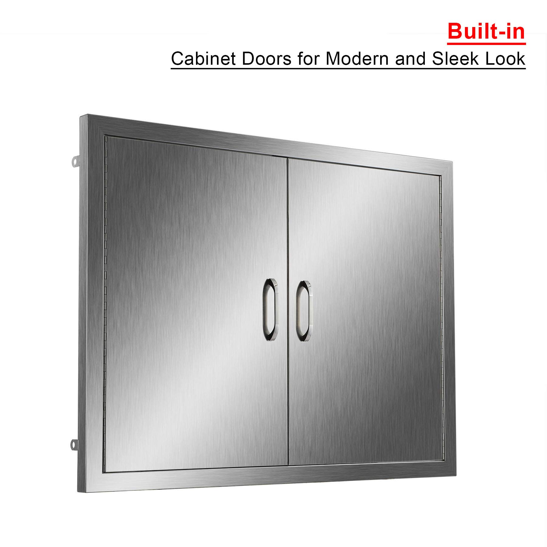 CO-Z Outdoor Kitchen Doors, 304 Brushed Stainless Steel Double BBQ Access Doors for Outdoor Kitchen, Commercial BBQ Island, Grilling Station, Outside Cabinet, Barbeque Grill, Built-in (31'' W x 24'' H) by CO-Z (Image #3)