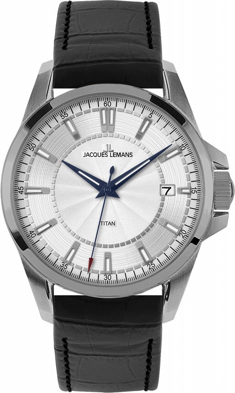 Jacques Lemans 1-1704B - Reloj analógico de Cuarzo para Hombre con Correa de Piel, Color Negro