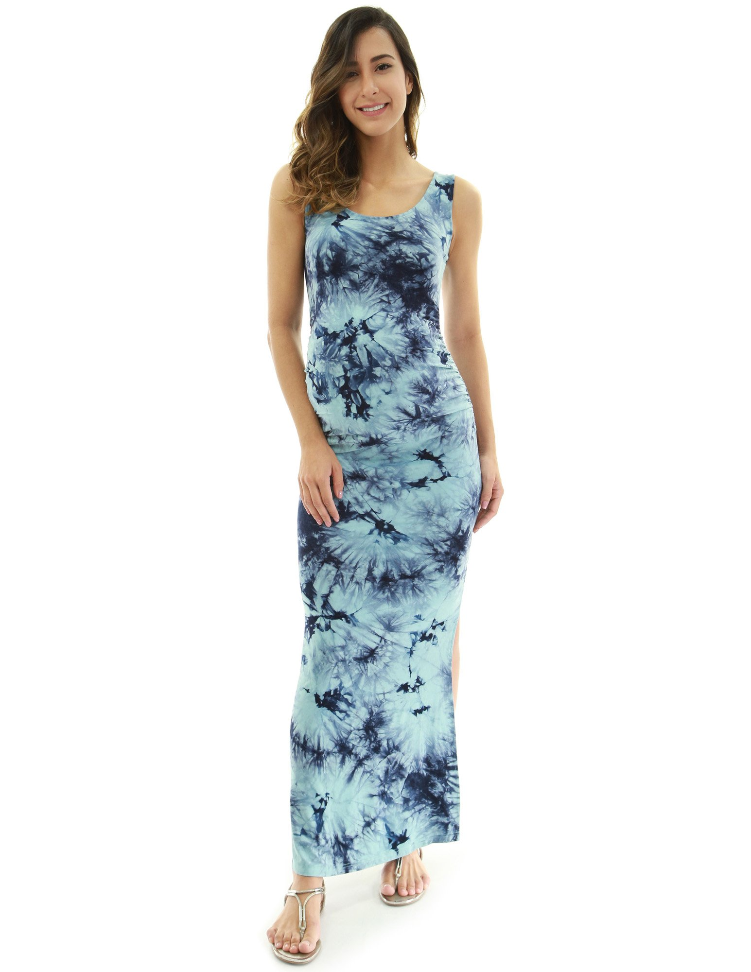 PattyBoutik Mama Tie-Dye/Solid Scoop Neck Sleeveless Maxi Dress (Light Blue and Dark Blue 32 Medium)