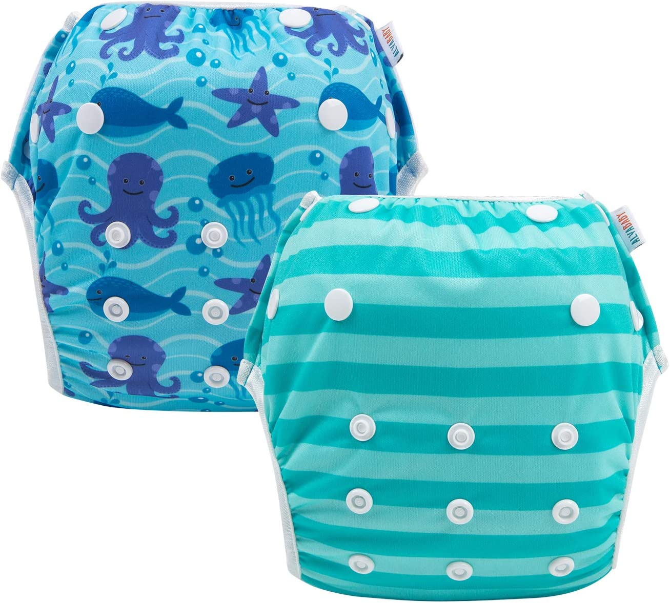 ALVABABY Swim Diapers Reuseable Washable Adjustable 2 PCS One Size DYK51-52-CA