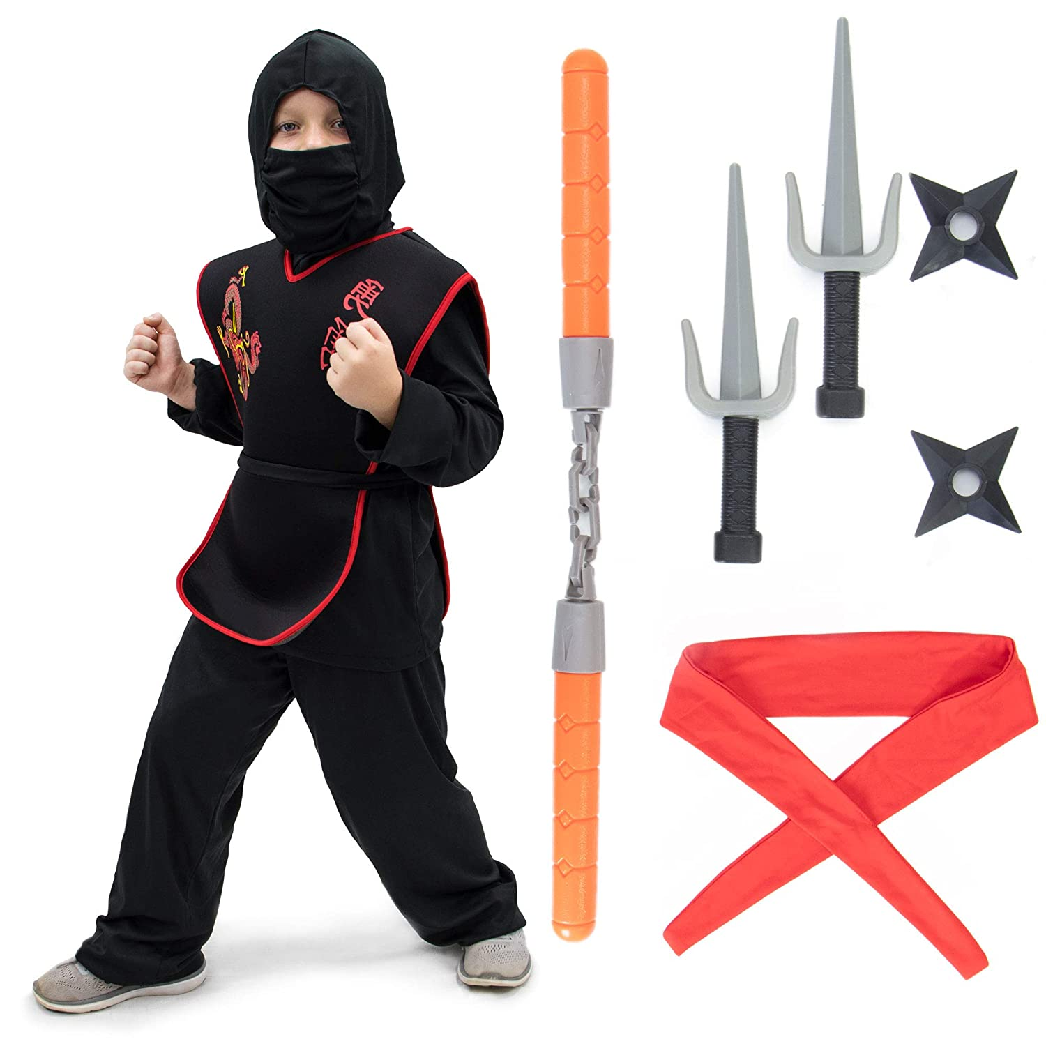 Deluxe Ninja Halloween Costume Set for Kids with Warrior Suit & 6 Props Black