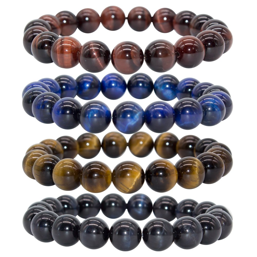 Bivei AA Quality Mens Womens 10MM Natural Tiger Eye Stone Gemstone Bead Meditation Healing Power Elastic Stretch Bracelet(Tiger Eye 4pc/Set)