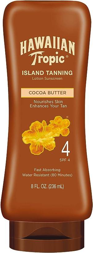 Hawaiian Tropic Sunscreen Protective Dark Tannning Sun Care Sunscreen Lotion, Cocoa Butter - SPF 4, 8 Ounce