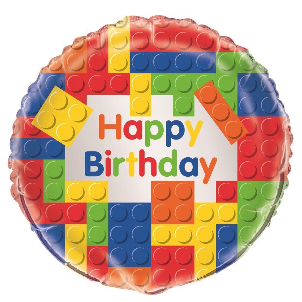 Unique Party Globo Foil: Fiesta de Cumpleaños de Bloques de Construcción Multicolor, 45 cm 58247: Amazon.es: Hogar