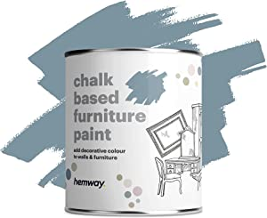 Hemway Matte Shabby Chic Chalk Based Furniture Paint 1L Grey Blue Suitable for Interior Furniture, Wardrobes, Shelves, Tables and Chairs, Quick Drying Chalky Finish Smooth Touch