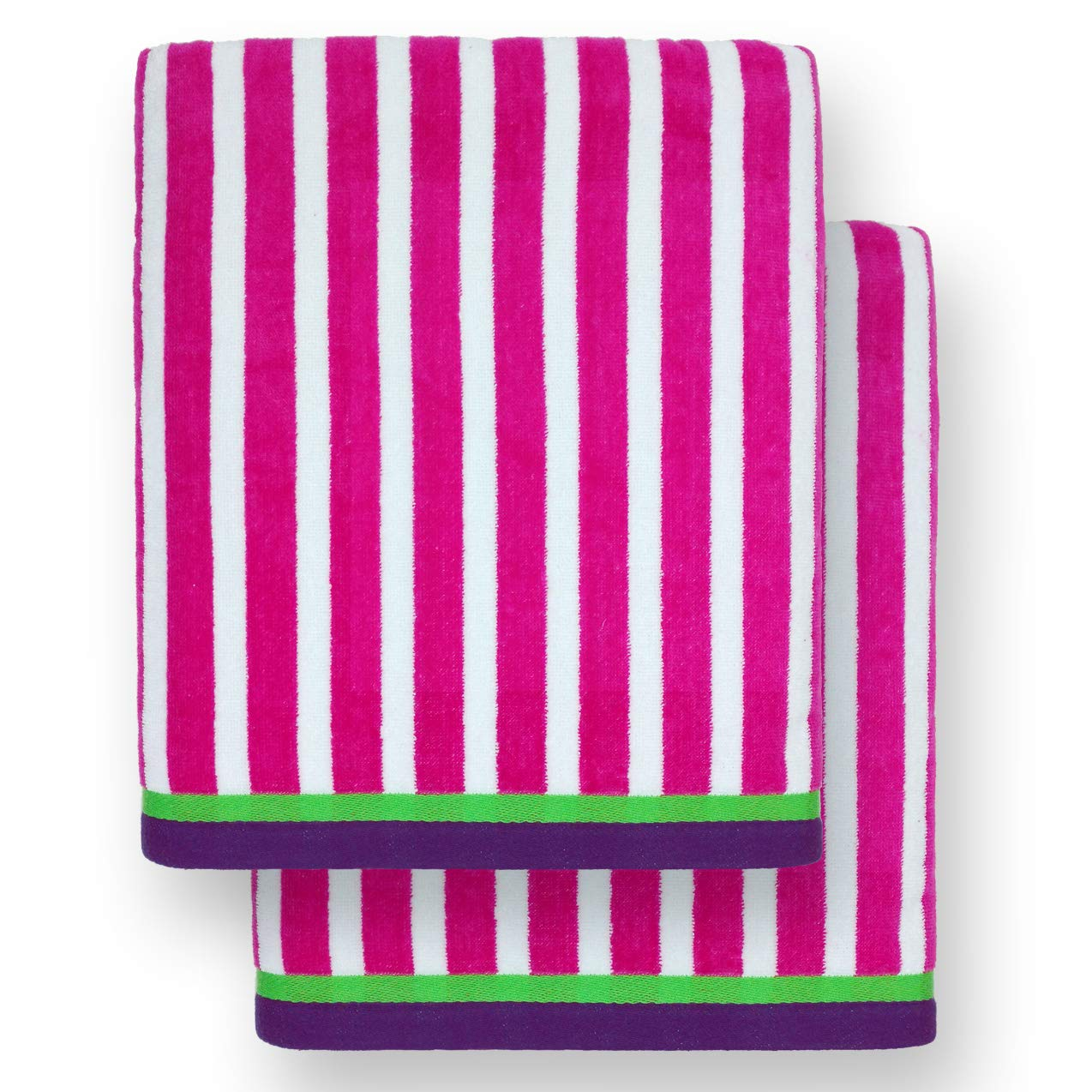 Ben Kaufman - Oversized 40'' X 70'' Stripe Color Velour super soft Beach and Pool Towel Set of 2 pieces . Easy care, Extra Large (Pink)