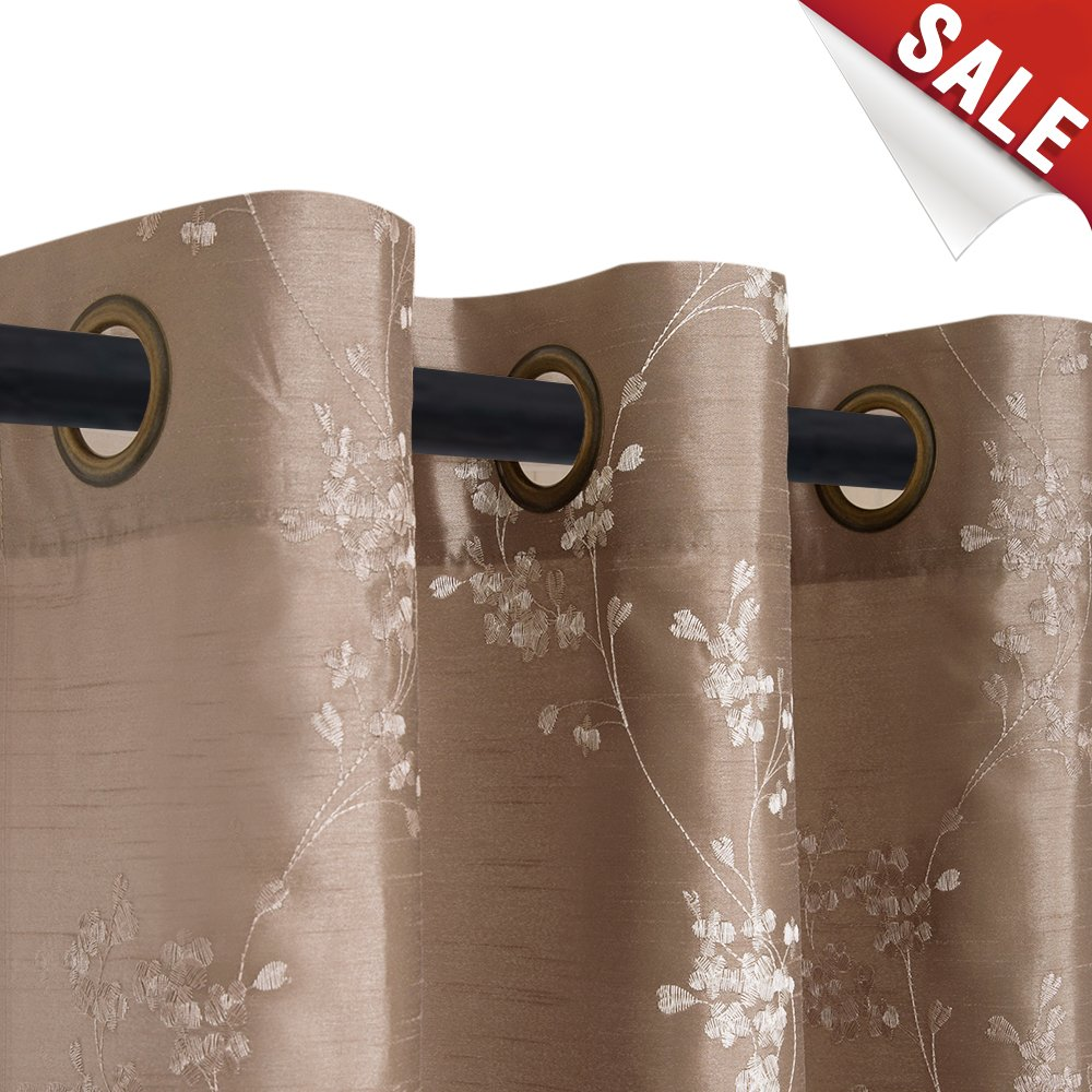 Faux Silk Floral Embroidered Grommet Top Curtains for Bedroom 84 inches Long Embroidery Curtain for Living Room, 1 Pair, Taupe