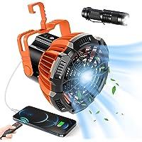 Splaks Portable Camping Fan, 3-in-1 Rechargeable USB Tent Ceilling Fan & LED Lantern Light, Battery Operated Desk Fan…