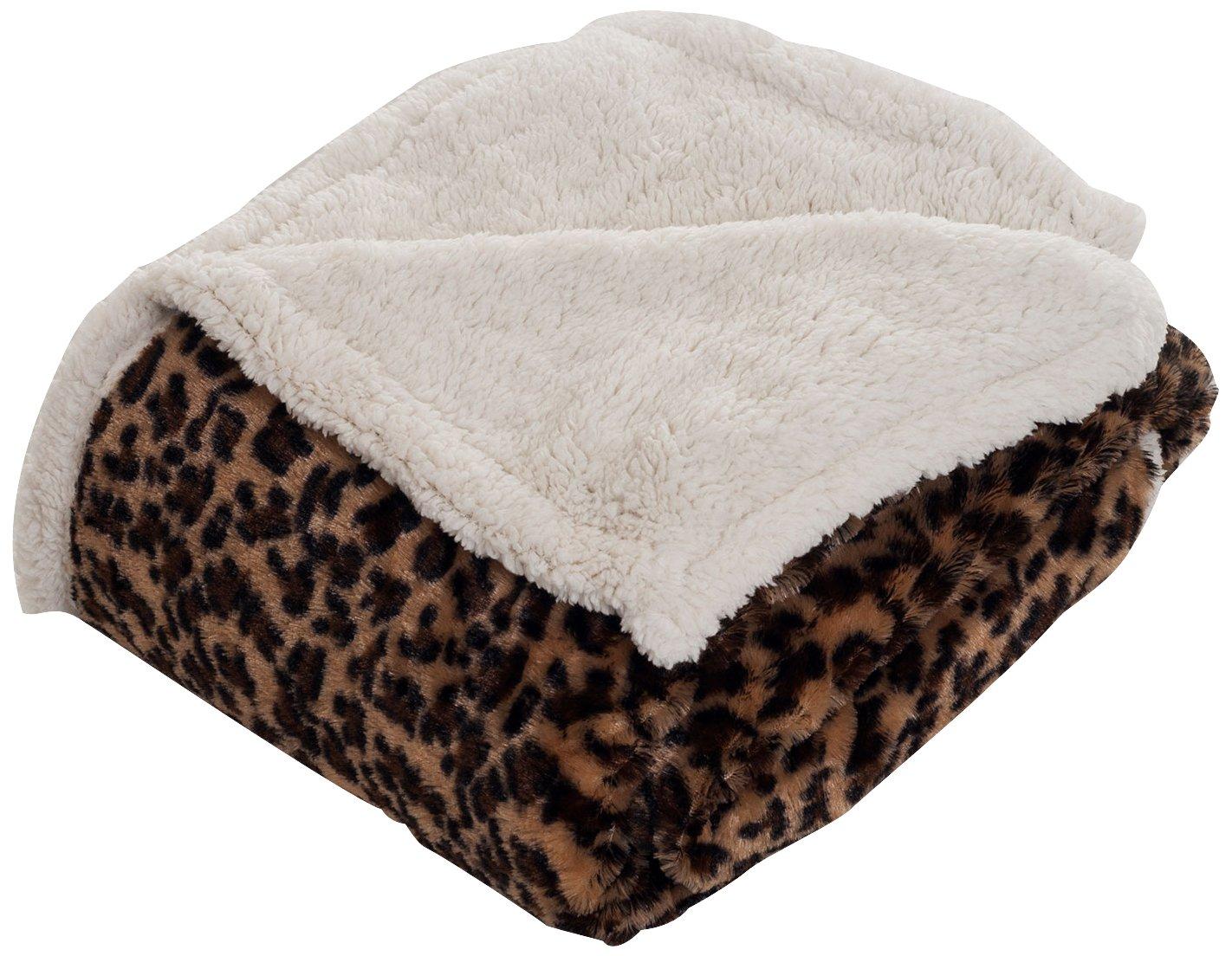 Lavish Home Throw Blanket, Fleece/Sherpa, Leopard