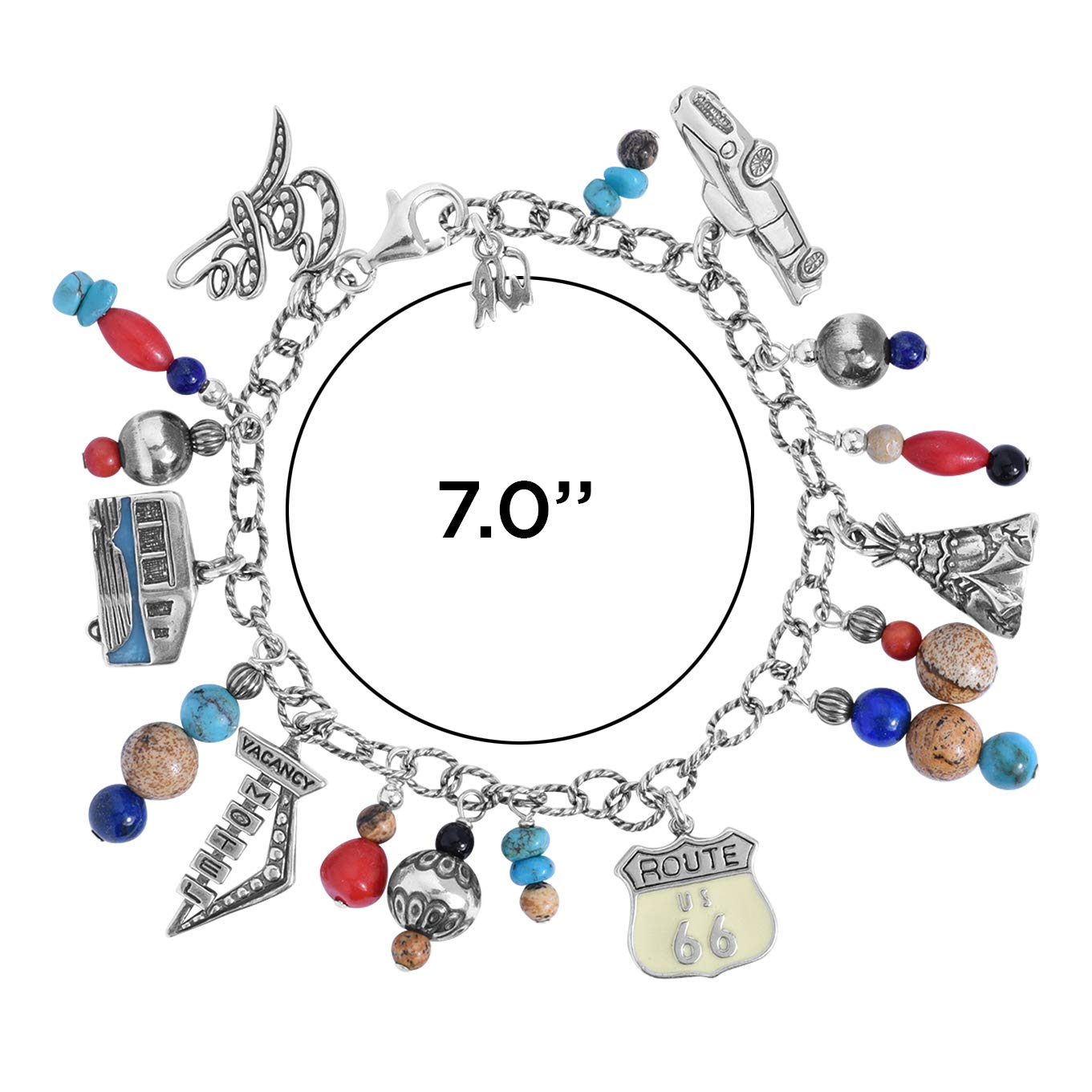 Sterling Silver Route 66 Multicolor Semi-Precious Bead Charm Chain Bracelet, Average (Fits 6-3/8'' to 6-3/4'') by American West (Image #4)