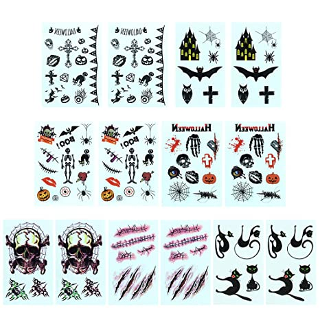 Joyibay 14pcs Tatuaje de Halloween Etiqueta engomada Impermeable ...