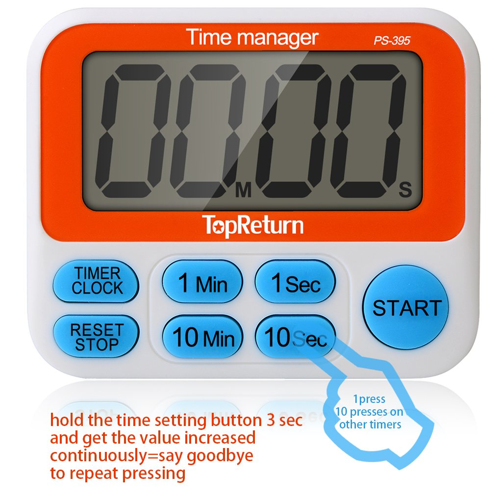 Amazon.com: TopReturn Kitchen Timer, Dual Count UP/Down Timer, Led ...