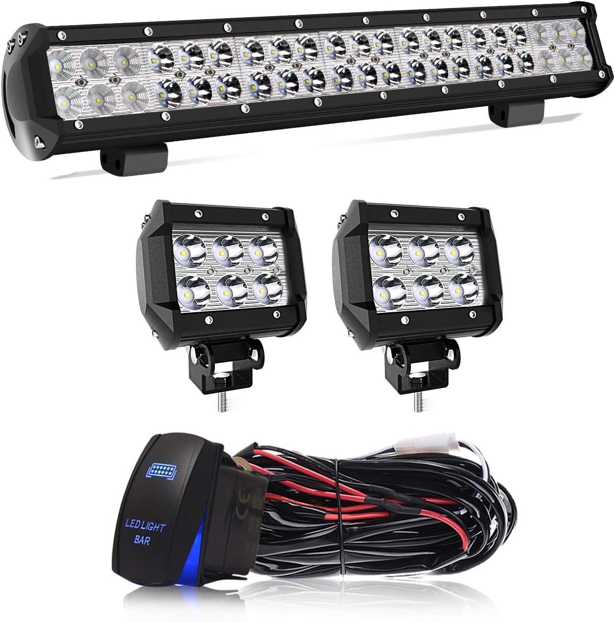 """20/"""" LED Light Work Light Bar 126W+light cube+wiring FOR  Polaris RZR XP UTV"""