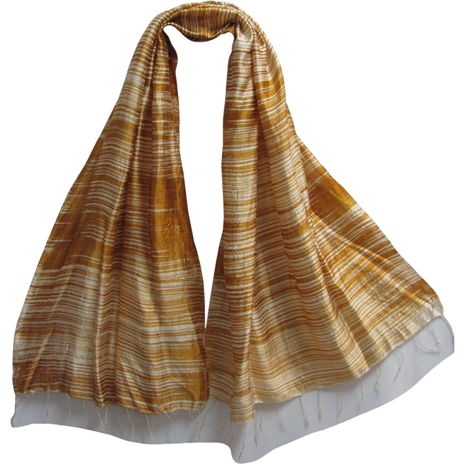 "Indian Striped Gold & Beige Print Long Fringed Raw Silk Scarf (28"" x 66"")"