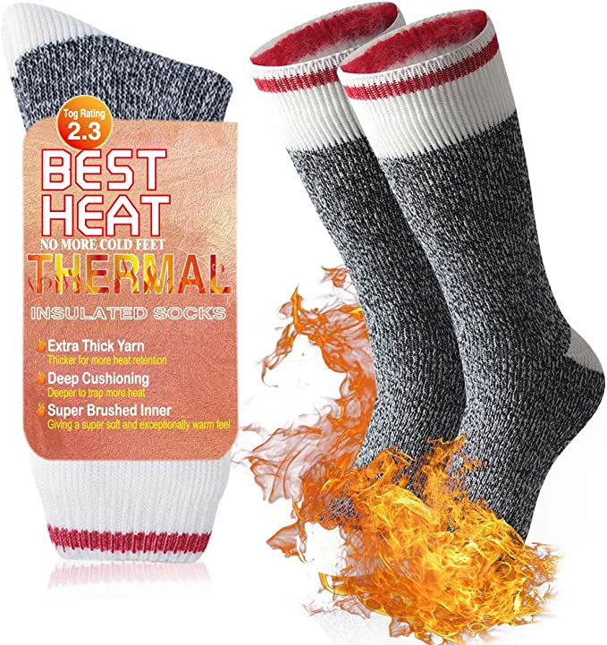 Ristake Men Women Winter Thick Insulated Heated Crew Socks for Cold Weather Warm Thermal Socks