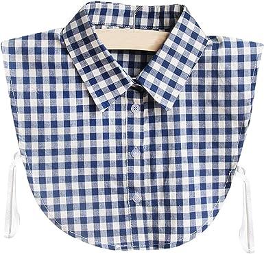 BASSK - 1 manta para mujer, estilo retro, con estampado de camisa y cuello falso y cuello desmontable de algodón y media camisa, corbata, ropa ...