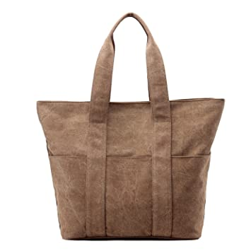 97ccf69df95 Lustear Canvas Tote bags Large Capacity Casual shoulder bag for Women  (Brown)