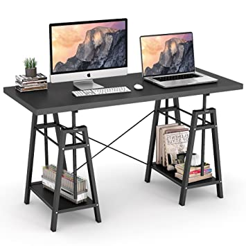 Tribesigns Computer Desk Height Adjustable Standing Desk, 55u201d Large Office  Desk With 2 Open
