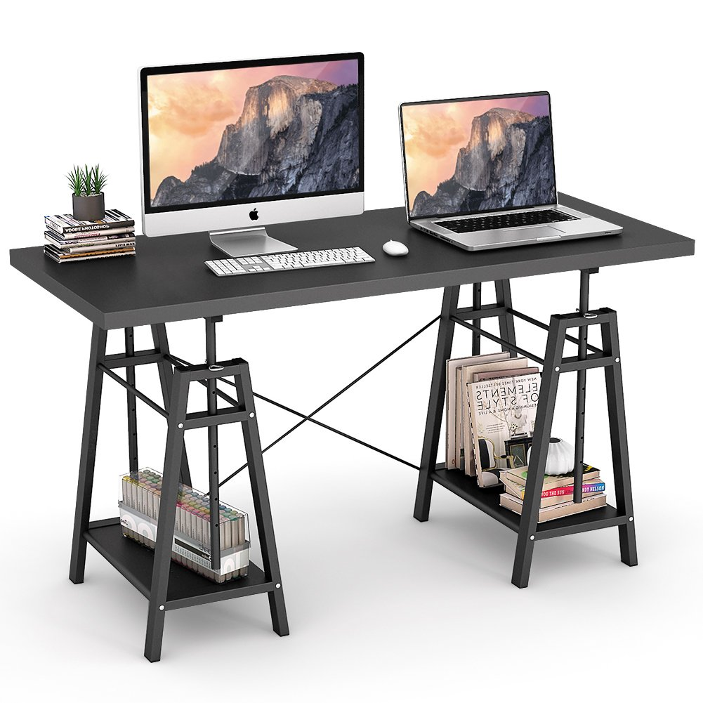 """Tribesigns Computer Desk Height Adjustable Standing Desk, 55"""" Large Office Desk with 2 Open Shelves for Home Office, Easily Switch from Sit to Stand (Black)"""