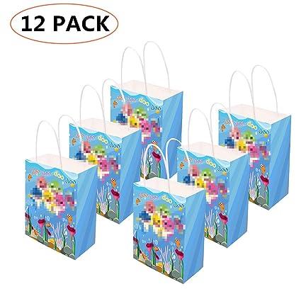 Amazon.com: 12 bolsas de regalo de tiburón para bebé ...
