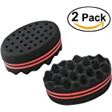 NUOLUX Sponge Brush for Twists, Coils, Curls in Afro-Style Hair -2 Pack