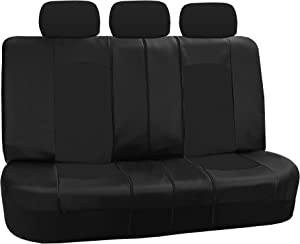 FH Group PU008013 Highest Grade Faux Leather Seat Covers (Black) Rear Set – Universal Fit for Cars Trucks & SUVs