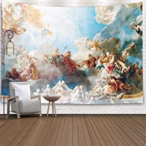 Sertiony Jesus Wall Tapestry,Wall Hanging Decor Art Wall Tapestry 60X60 Inches France April Ceiling Painting Hercules Room Royal Chateau Christmas Tapestry Wall Hanging