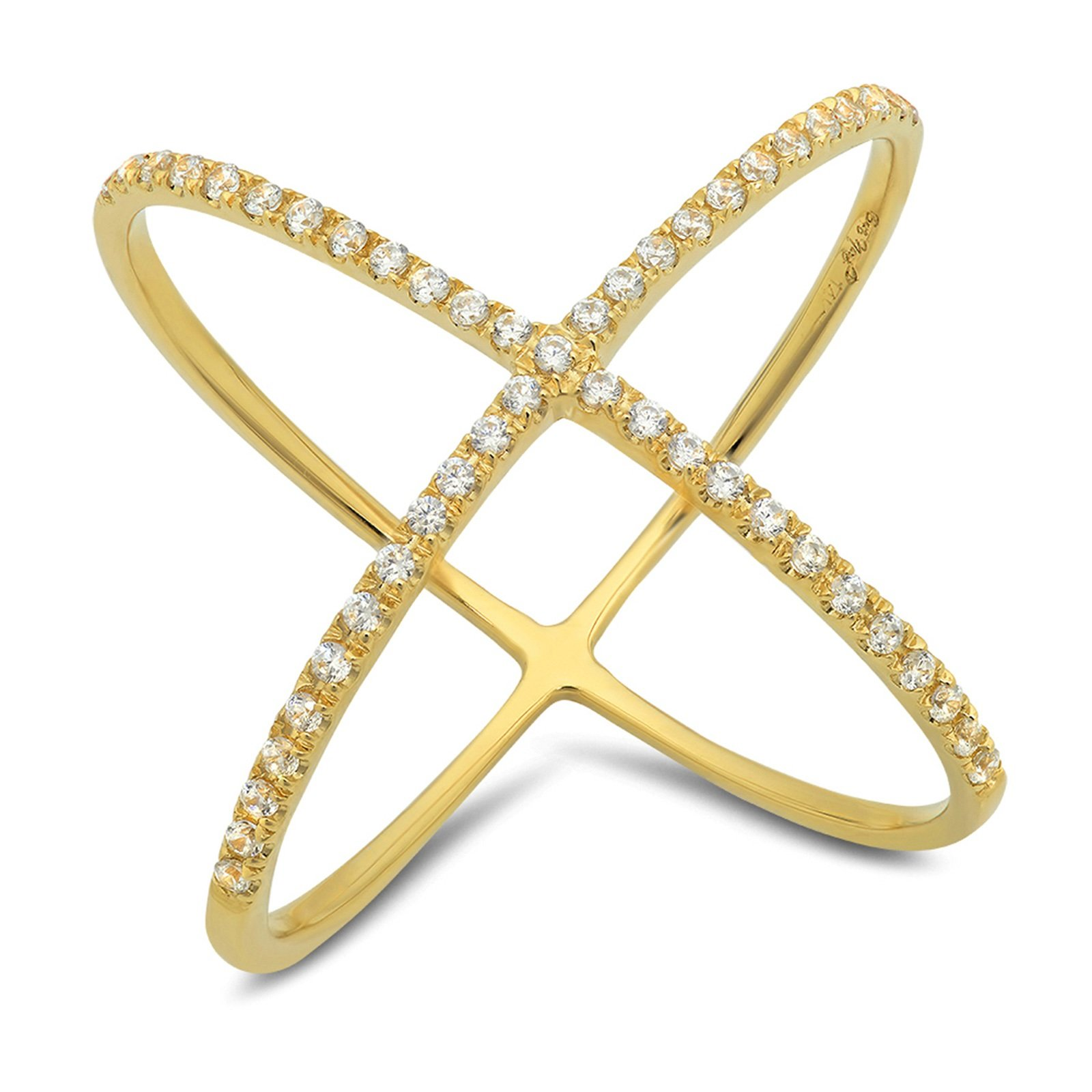 0.58 CT Round Cut CZ Pave Engagement Contemporary Cross Design Ring Band 14k Yellow Gold, Size 9.5