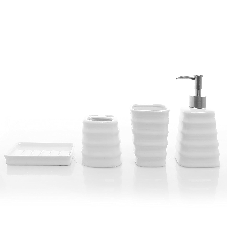 Amazon Com Mygift 4 Piece Ribbed White Ceramic Bathroom Accessory