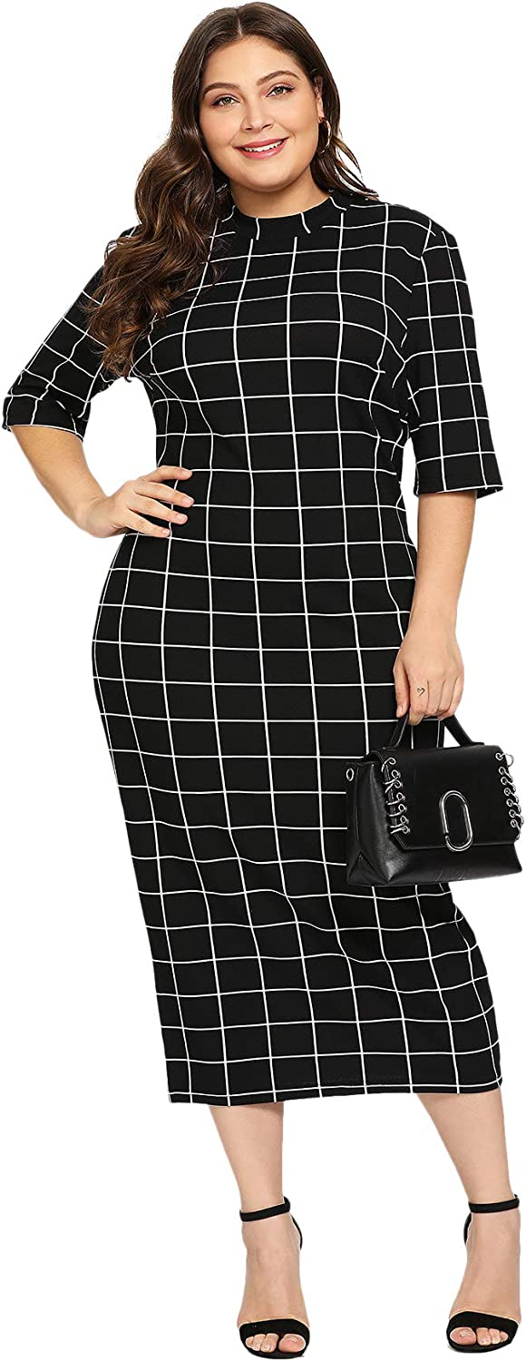 Floerns Women's Short Sleeve Plus Size Gingham Bodycon Business Pencil Dress