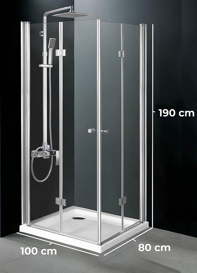 CLP ducha cabina de Pattaya de vidrio de cristal de seguridad | ducha pared con 2 giratorios falttüren | Mampara con revestimiento de fácil cuidado Nano | disponible en distintos tamaños: Amazon.es: