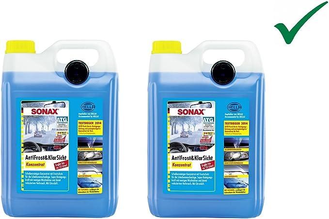 Set 2 X 5 L Sonax Antifrost Klarsicht Konzentrat Scheibenreiniger Scheiben Scheinwerfer Frostschutz Mit Citrusduft Bis 30 Auto