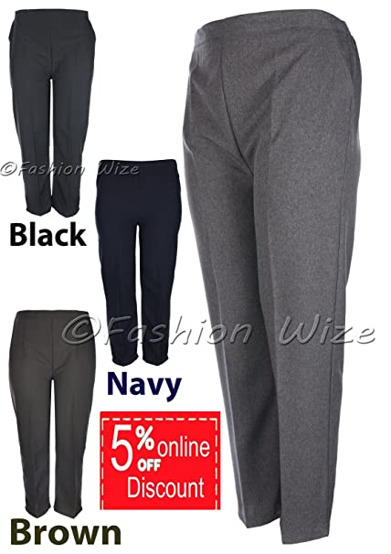 d3856b1a799 Ladies Elasticated Waist Trousers Sizes 8-26 25