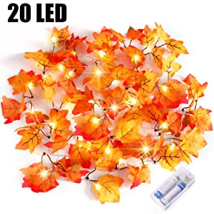 Severino Fall Decor Lighted Fall Garland String Lights for Indoor Outdoor Home, HalloweenDecorations, Halloween Party fall leaf garland Waterproof Maple Leaf String Lights-8.2 Feet 20 LED