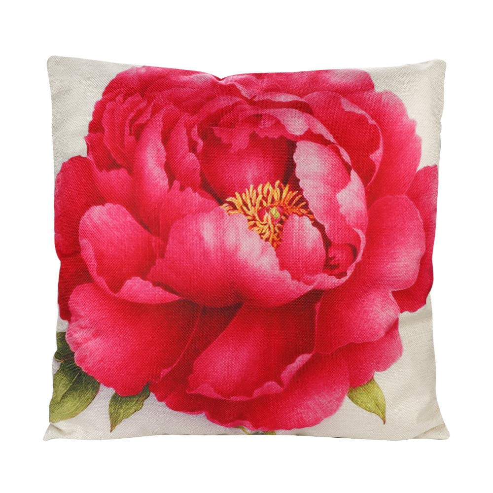 BHYDRY Love Flower Cotton Linen Throw Pillow Funda de cojín ...