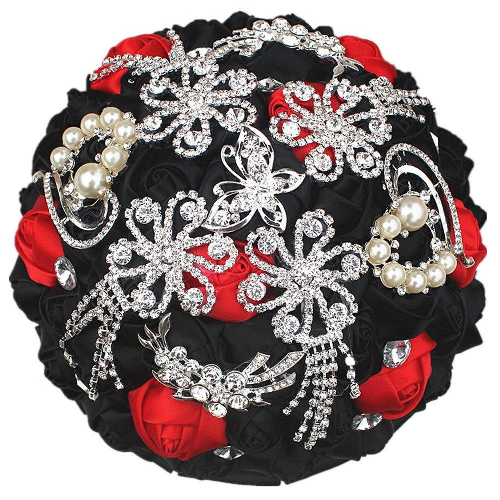dweddingブライドブライズメイドブライダルウェディングブーケブローチシルクハンドメイドSparkle Crystal Artificial Flowers Bouquetsウェディングフラワー18 cm / 7