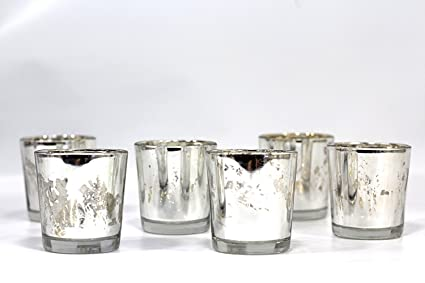 fdb7a28f49 Image Unavailable. Image not available for. Color: Antique mercury glass  votive candle holder ...