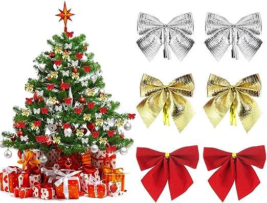 Perfetsell Lazos para Arbol de Navidad, 36pcs Moños Navideños ...